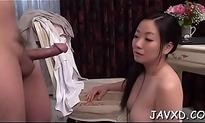 Skylark staring at one's disposal nice-looking asian chick getting banged hawt