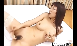 Adorable juvenile japan cutie receives monster flannel in anal mode