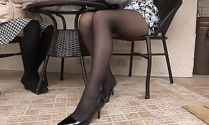Pantyhose Asian Skirt