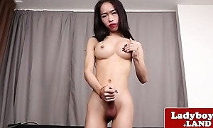 Real ladyboy teasing and paroxysmal her cock