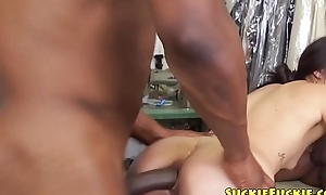 Asian babe anally fucked by black cock adjacent to mmf
